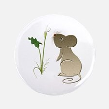 """Cute Mouse and Calla lily 3.5"""" Button (100 pa"""
