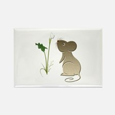 Cute Mouse and Calla lily Rectangle Magnet