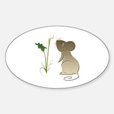 Cute Mouse and Calla lily Sticker (Oval)