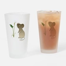 Cute Mouse and Calla lily Drinking Glass