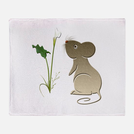 Cute Mouse and Calla lily Throw Blanket