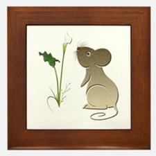Cute Mouse and Calla lily Framed Tile