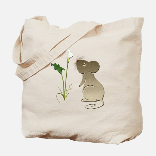 Cute Mouse and Calla lily Tote Bag