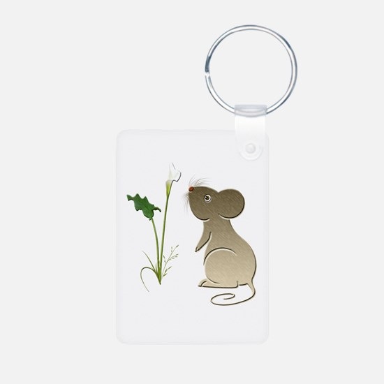 Cute Mouse and Calla lily Aluminum Photo Keychain