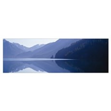 Reflection of a mountain in a lake, Lake Crescent, Framed Print