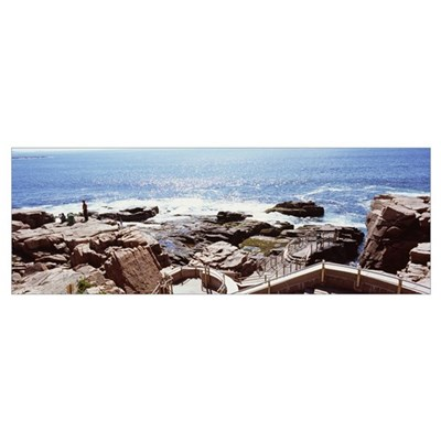 Tourists on the coast, Thunder Hole, Acadia Nation Poster
