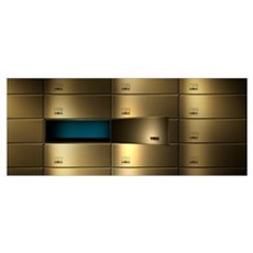 Safety deposit boxes in a wall Poster