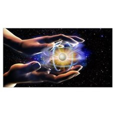 Person's hands holding an atom Framed Print