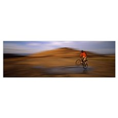 Mountain bike rider on a trail, Slickrock Trail, S Poster