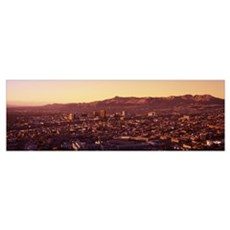 Aerial view of a cityscape, El Paso, Texas-Mexico  Poster