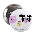 Farm Trio - Go Vegan Button