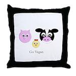 Farm Trio - Go Vegan Throw Pillow