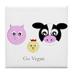 Farm Trio - Go Vegan Tile Coaster