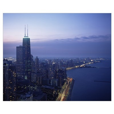 City at the waterfront, Lake Michigan, Chicago, Co Framed Print