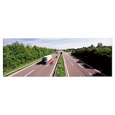 Vehicles on a highway, Bundesautobahn 81, Baden Wu Poster