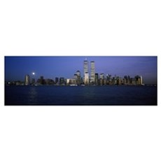 Buildings at the waterfront World Trade Center Hud Poster