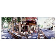 Group of people at a sidewalk cafe Paris France Canvas Art