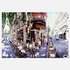 Group of people at a sidewalk cafe Paris France