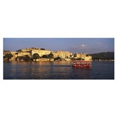 Tourboat in a lake Udaipur City Palace Lake Pichol Poster