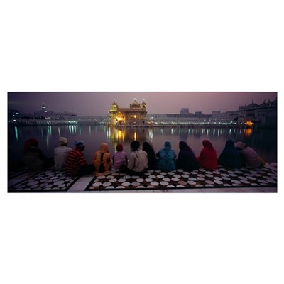 Group of people at a temple Golden Temple Amritsar Poster
