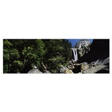 Waterfall in a forest Vernal Falls Liberty Cap Yos Poster