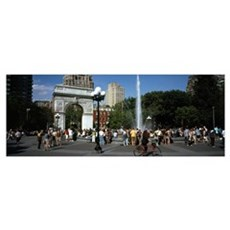 Tourists at a park Washington Square Arch Washingt Framed Print