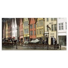 Buildings at a harbor Bryggen Bergen Hordaland Cou Poster