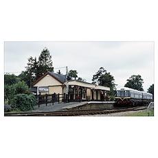 Train at a railroad station Northiam Railway Stati Poster
