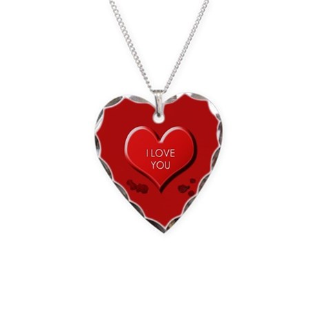 I Love You Necklace Heart Charm