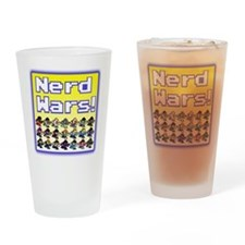 Nerd Wars 8-Bit with Backgrou Drinking Glass