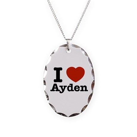 I love Ayden Necklace Oval Charm