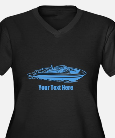 Motorboat. Add Your Text. Women's Plus Size V-Neck
