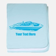 Motorboat. Add Your Text. baby blanket