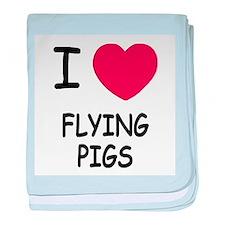 I heart flying pigs baby blanket