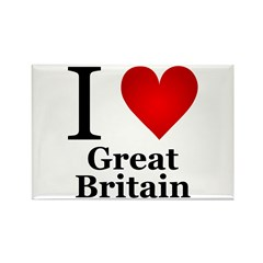 I Love Great Britain Rectangle Magnet (100 pack)