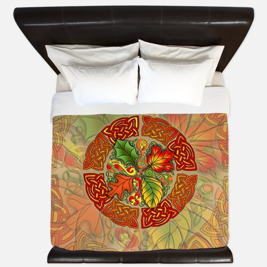 Celtic Autumn Leaves King Duvet Cover