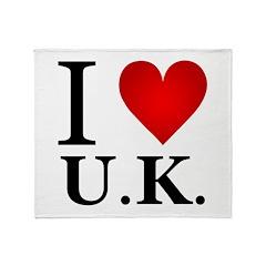 I Love U.K. Throw Blanket
