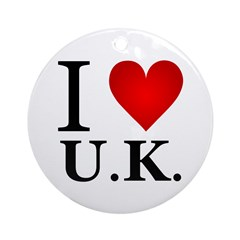 I Love U.K. Ornament (Round)