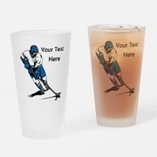 Icy Hockey. With Your Text. Drinking Glass