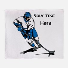 Icy Hockey. With Your Text. Throw Blanket