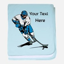 Icy Hockey. With Your Text. baby blanket