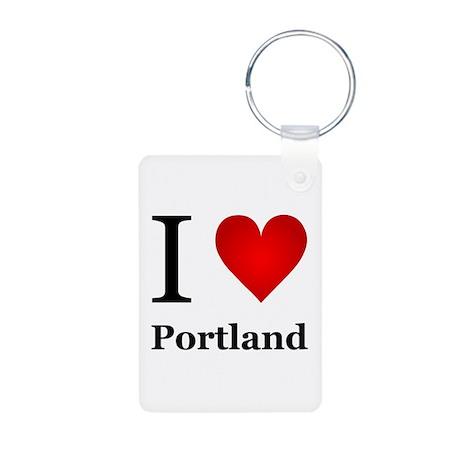 I Love Portland Aluminum Photo Keychain