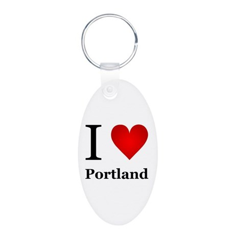 I Love Portland Aluminum Oval Keychain