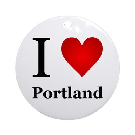 I Love Portland Ornament (Round)