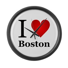 I Love Boston Large Wall Clock