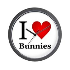 I Love Bunnies Wall Clock