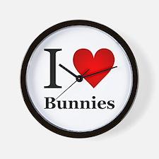 I Love Bunnies Wall Clock