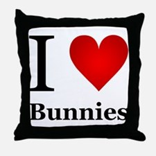 I Love Bunnies Throw Pillow