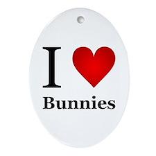 I Love Bunnies Ornament (Oval)