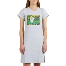 Irises / Poodle (w) Women's Nightshirt
